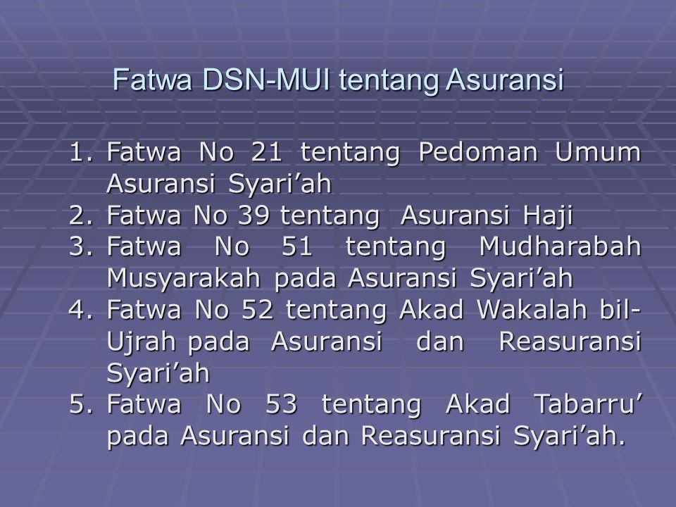 Fatwa DSN-MUI tentang Asuransi 1.Fatwa No 21 tentang Pedoman Umum Asuransi Syari'ah 2.Fatwa No 39 tentang Asuransi Haji 3.Fatwa No 51 tentang Mudharab