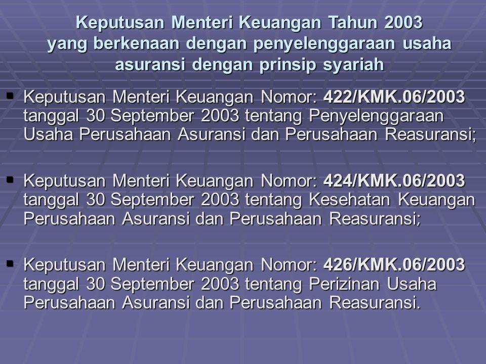 Keputusan Menteri Keuangan Tahun 2003 yang berkenaan dengan penyelenggaraan usaha asuransi dengan prinsip syariah  Keputusan Menteri Keuangan Nomor: