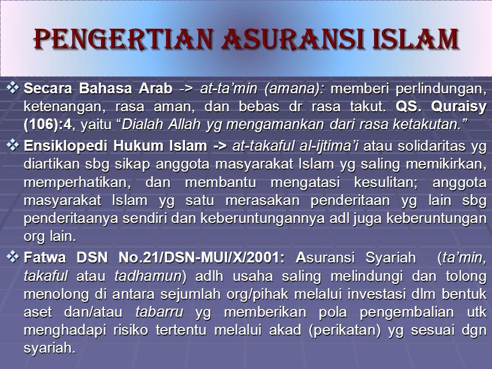 """ Secara Bahasa Arab -> at-ta'min (amana): memberi perlindungan, ketenangan, rasa aman, dan bebas dr rasa takut. QS. Quraisy (106):4, yaitu """"Dialah Al"""