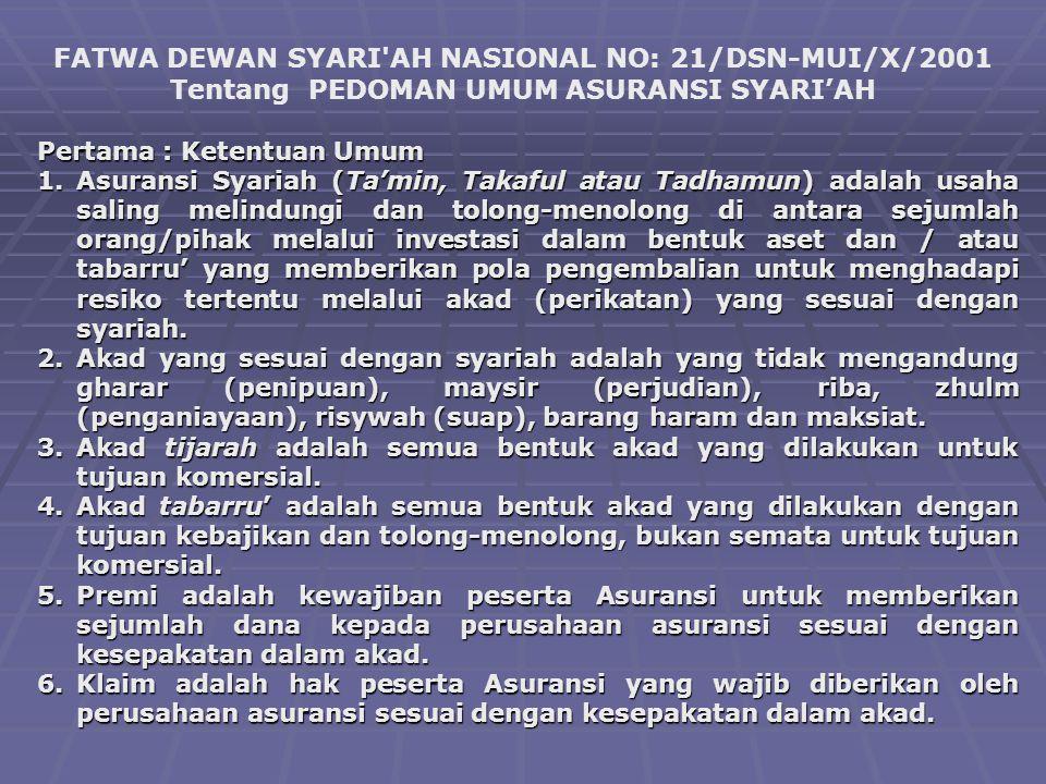 FATWA DEWAN SYARI'AH NASIONAL NO: 21/DSN-MUI/X/2001 Tentang PEDOMAN UMUM ASURANSI SYARI'AH Pertama : Ketentuan Umum 1.Asuransi Syariah (Ta'min, Takafu