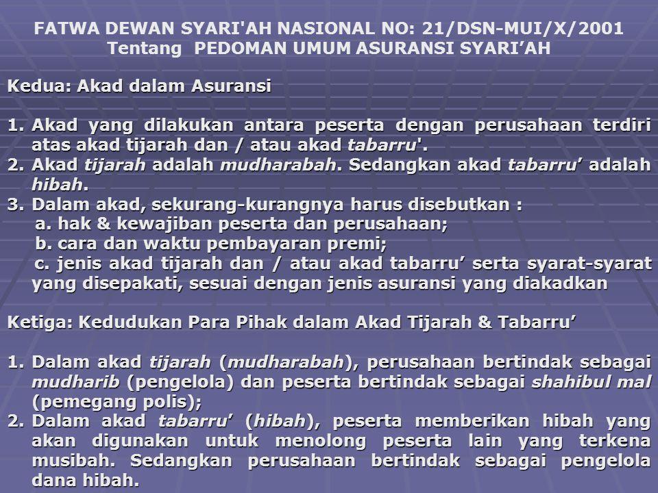 FATWA DEWAN SYARI'AH NASIONAL NO: 21/DSN-MUI/X/2001 Tentang PEDOMAN UMUM ASURANSI SYARI'AH Kedua: Akad dalam Asuransi 1.Akad yang dilakukan antara pes
