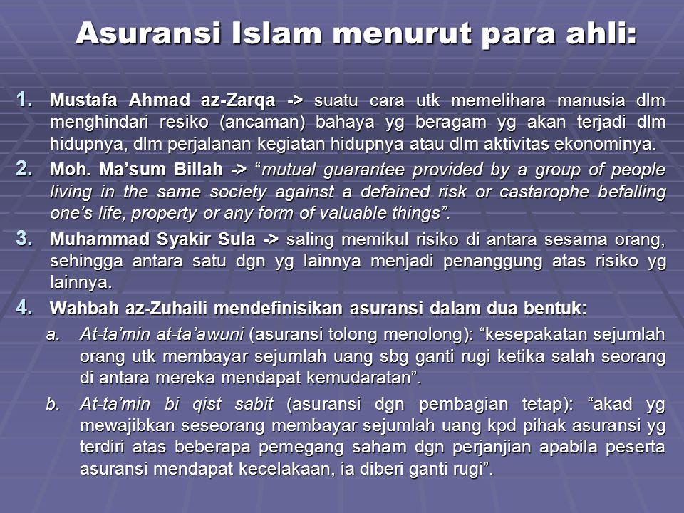 Asuransi Islam menurut para ahli: 1. Mustafa Ahmad az-Zarqa -> suatu cara utk memelihara manusia dlm menghindari resiko (ancaman) bahaya yg beragam yg