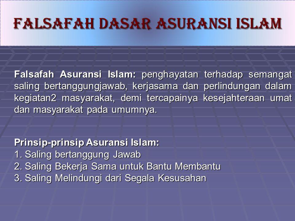 Falsafah Asuransi Islam: penghayatan terhadap semangat saling bertanggungjawab, kerjasama dan perlindungan dalam kegiatan2 masyarakat, demi tercapainy