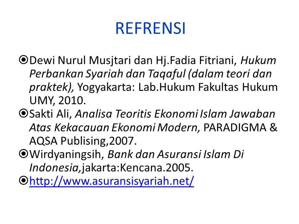 REFRENSI  Dewi Nurul Musjtari dan Hj.Fadia Fitriani, Hukum Perbankan Syariah dan Taqaful (dalam teori dan praktek), Yogyakarta: Lab.Hukum Fakultas Hukum UMY, 2010.