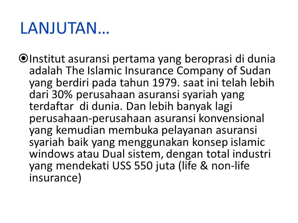 LANJUTAN…  Institut asuransi pertama yang beroprasi di dunia adalah The Islamic Insurance Company of Sudan yang berdiri pada tahun 1979.