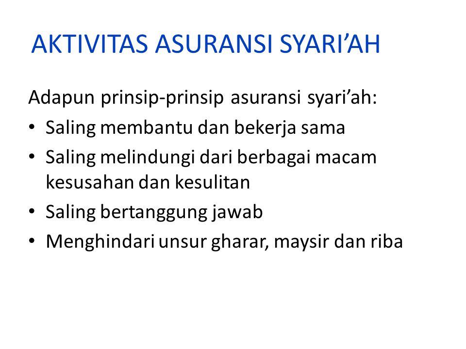 AKTIVITAS ASURANSI SYARI'AH Adapun prinsip-prinsip asuransi syari'ah: Saling membantu dan bekerja sama Saling melindungi dari berbagai macam kesusahan