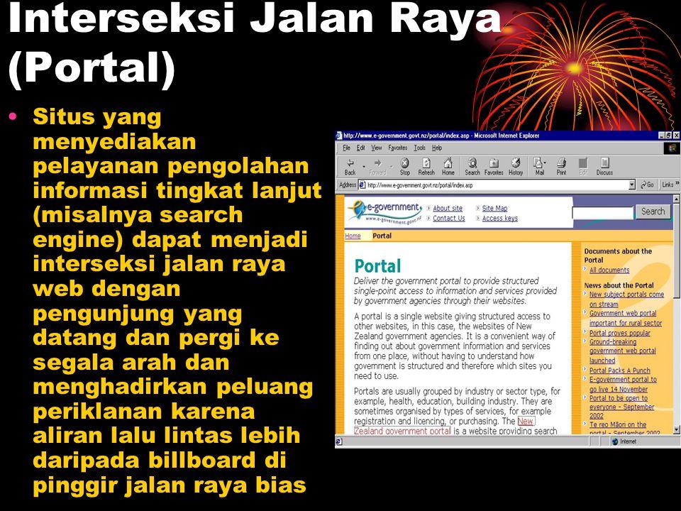 Interseksi Jalan Raya (Portal) Situs yang menyediakan pelayanan pengolahan informasi tingkat lanjut (misalnya search engine) dapat menjadi interseksi