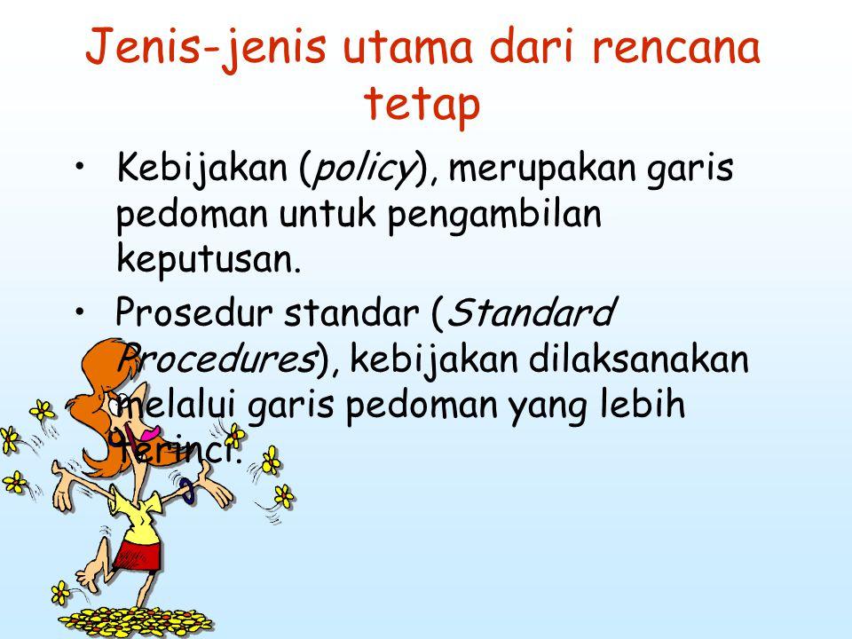 Jenis-jenis utama dari rencana tetap Kebijakan (policy), merupakan garis pedoman untuk pengambilan keputusan. Prosedur standar (Standard Procedures),