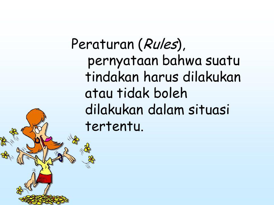 Peraturan (Rules), pernyataan bahwa suatu tindakan harus dilakukan atau tidak boleh dilakukan dalam situasi tertentu.