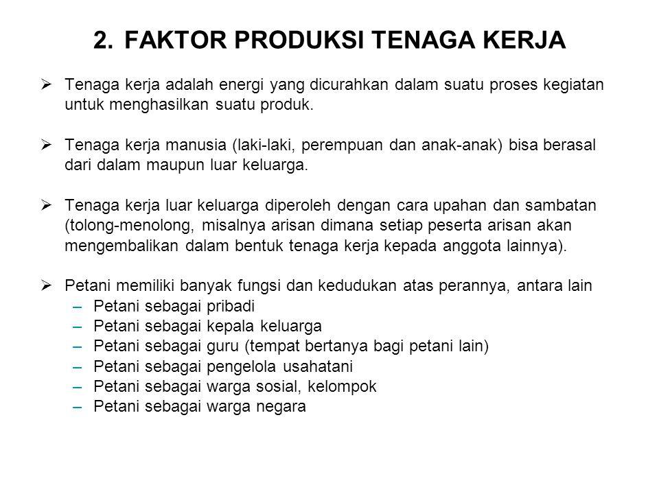 2. FAKTOR PRODUKSI TENAGA KERJA  Tenaga kerja adalah energi yang dicurahkan dalam suatu proses kegiatan untuk menghasilkan suatu produk.  Tenaga ker