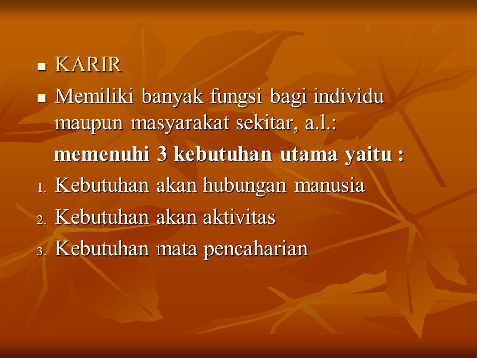 KARIR KARIR Memiliki banyak fungsi bagi individu maupun masyarakat sekitar, a.l.: Memiliki banyak fungsi bagi individu maupun masyarakat sekitar, a.l.
