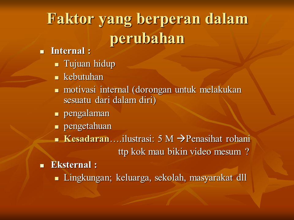 Faktor yang berperan dalam perubahan Internal : Internal : Tujuan hidup Tujuan hidup kebutuhan kebutuhan motivasi internal (dorongan untuk melakukan s