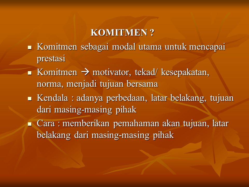 KOMITMEN ? KOMITMEN ? Komitmen sebagai modal utama untuk mencapai prestasi Komitmen sebagai modal utama untuk mencapai prestasi Komitmen  motivator,