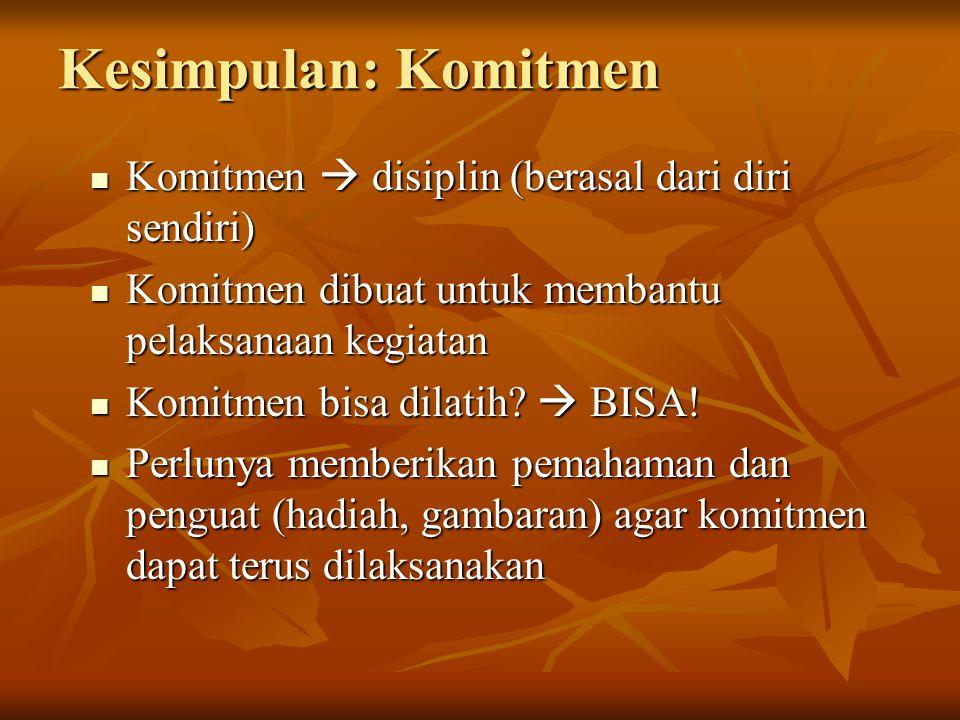 Kesimpulan: Komitmen Komitmen  disiplin (berasal dari diri sendiri) Komitmen  disiplin (berasal dari diri sendiri) Komitmen dibuat untuk membantu pe