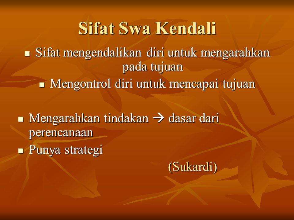 Sifat Swa Kendali Sifat mengendalikan diri untuk mengarahkan pada tujuan Sifat mengendalikan diri untuk mengarahkan pada tujuan Mengontrol diri untuk