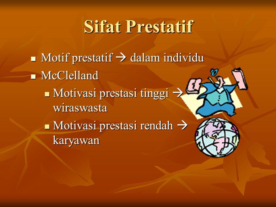 Sifat Prestatif Motif prestatif  dalam individu Motif prestatif  dalam individu McClelland McClelland Motivasi prestasi tinggi  wiraswasta Motivasi
