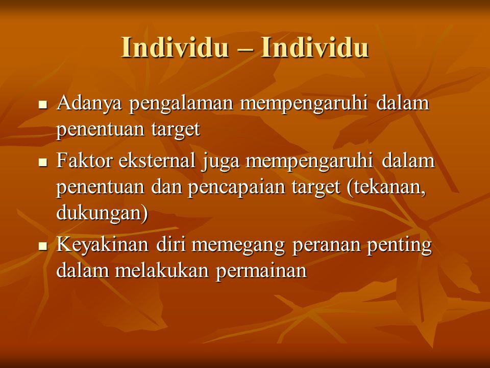 Individu – Individu Adanya pengalaman mempengaruhi dalam penentuan target Adanya pengalaman mempengaruhi dalam penentuan target Faktor eksternal juga