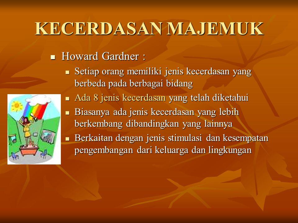 KECERDASAN MAJEMUK Howard Gardner : Howard Gardner : Setiap orang memiliki jenis kecerdasan yang berbeda pada berbagai bidang Setiap orang memiliki je