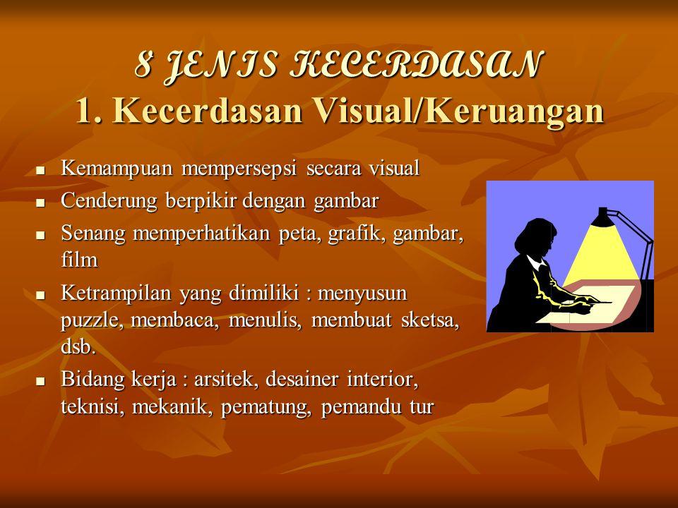 8 JENIS KECERDASAN 1. Kecerdasan Visual/Keruangan Kemampuan mempersepsi secara visual Kemampuan mempersepsi secara visual Cenderung berpikir dengan ga