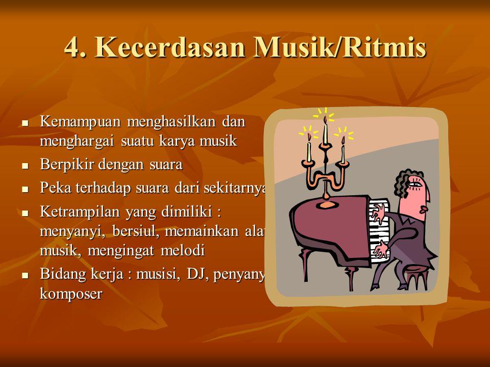 4. Kecerdasan Musik/Ritmis Kemampuan menghasilkan dan menghargai suatu karya musik Kemampuan menghasilkan dan menghargai suatu karya musik Berpikir de