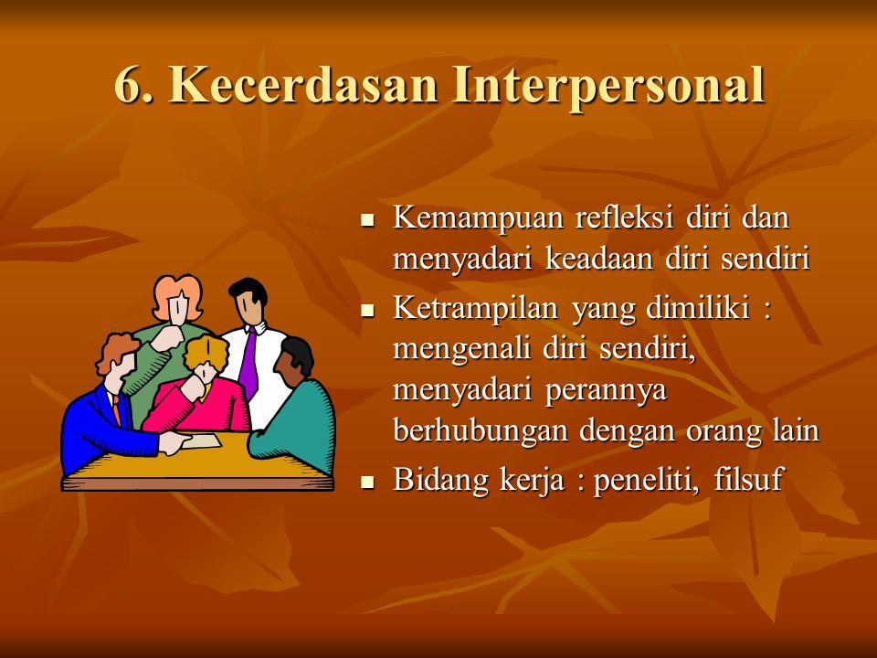 6. Kecerdasan Interpersonal Kemampuan refleksi diri dan menyadari keadaan diri sendiri Kemampuan refleksi diri dan menyadari keadaan diri sendiri Ketr