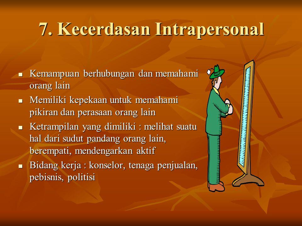 7. Kecerdasan Intrapersonal Kemampuan berhubungan dan memahami orang lain Kemampuan berhubungan dan memahami orang lain Memiliki kepekaan untuk memaha