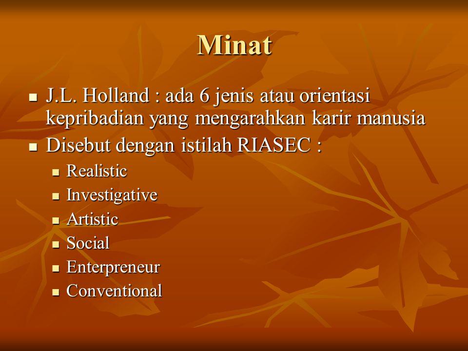 Minat J.L. Holland : ada 6 jenis atau orientasi kepribadian yang mengarahkan karir manusia J.L. Holland : ada 6 jenis atau orientasi kepribadian yang