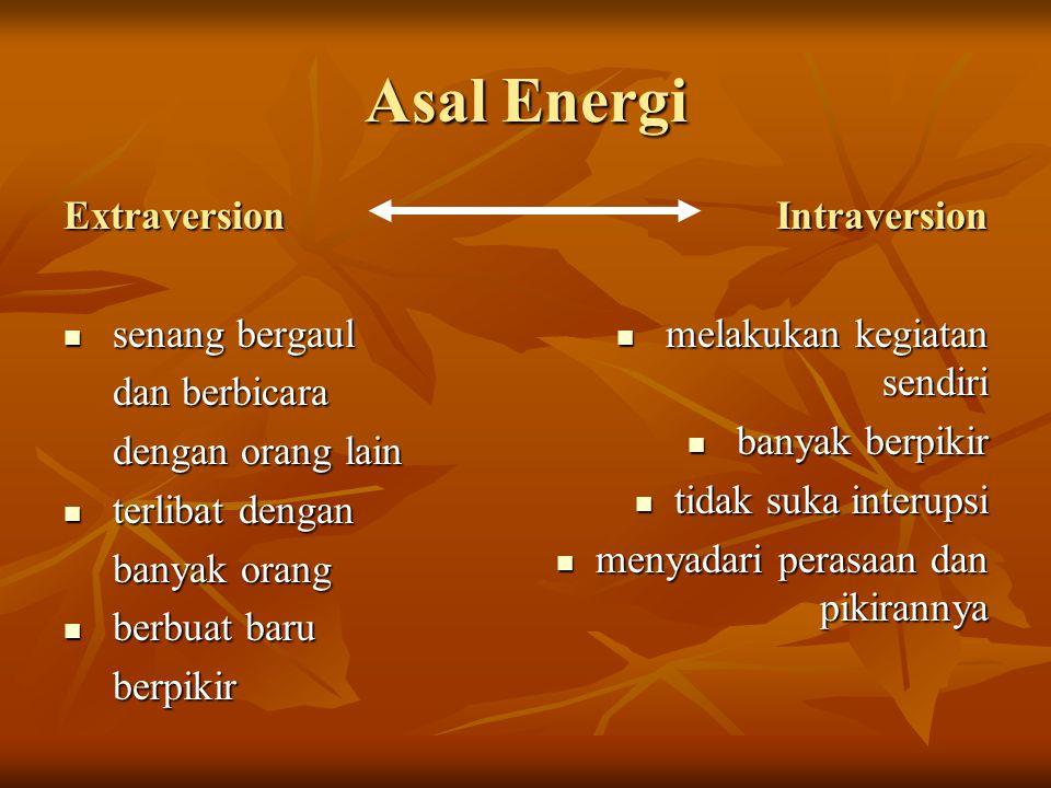 Asal Energi Extraversion senang bergaul senang bergaul dan berbicara dan berbicara dengan orang lain dengan orang lain terlibat dengan terlibat dengan