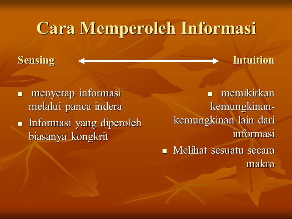 Cara Memperoleh Informasi Sensing menyerap informasi melalui panca indera menyerap informasi melalui panca indera Informasi yang diperoleh biasanya ko