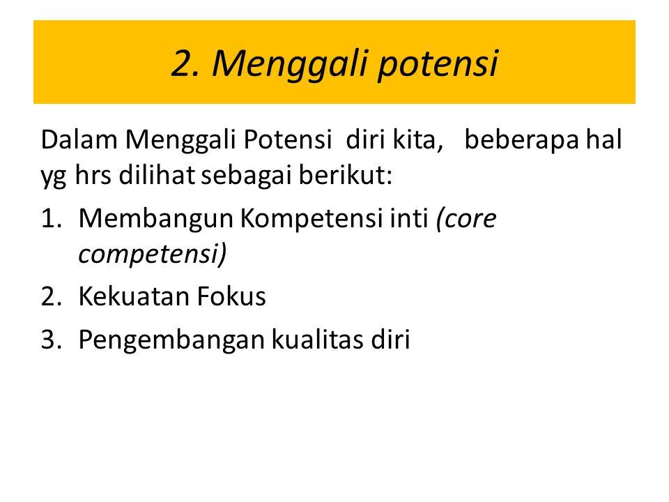 2. Menggali potensi Dalam Menggali Potensi diri kita, beberapa hal yg hrs dilihat sebagai berikut: 1.Membangun Kompetensi inti (core competensi) 2.Kek