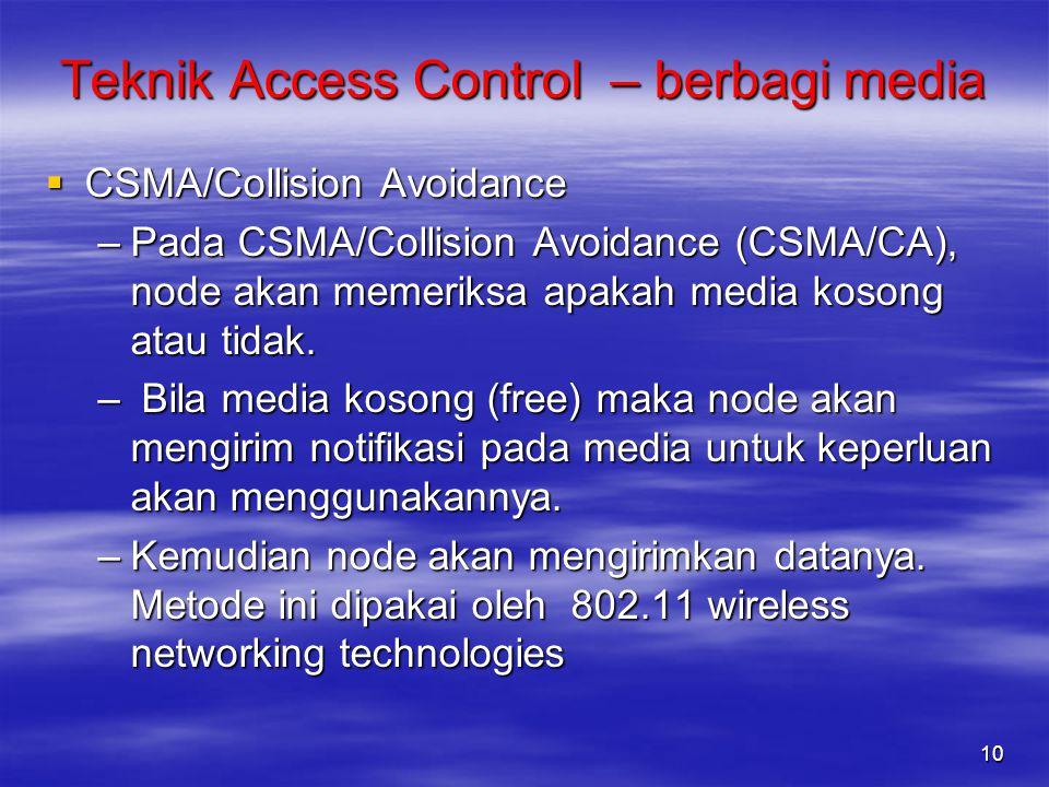  CSMA/Collision Avoidance –Pada CSMA/Collision Avoidance (CSMA/CA), node akan memeriksa apakah media kosong atau tidak. – Bila media kosong (free) ma
