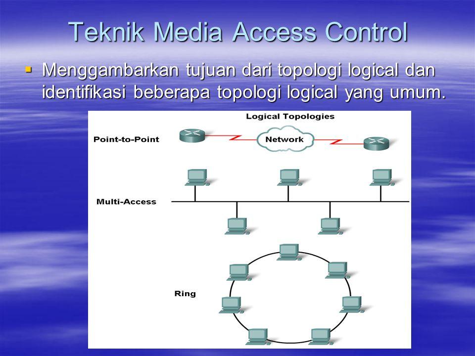  Menggambarkan tujuan dari topologi logical dan identifikasi beberapa topologi logical yang umum. Teknik Media Access Control