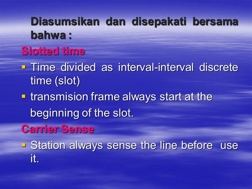 Diasumsikan dan disepakati bersama bahwa : Diasumsikan dan disepakati bersama bahwa : Slotted time  Time divided as interval-interval discrete time (
