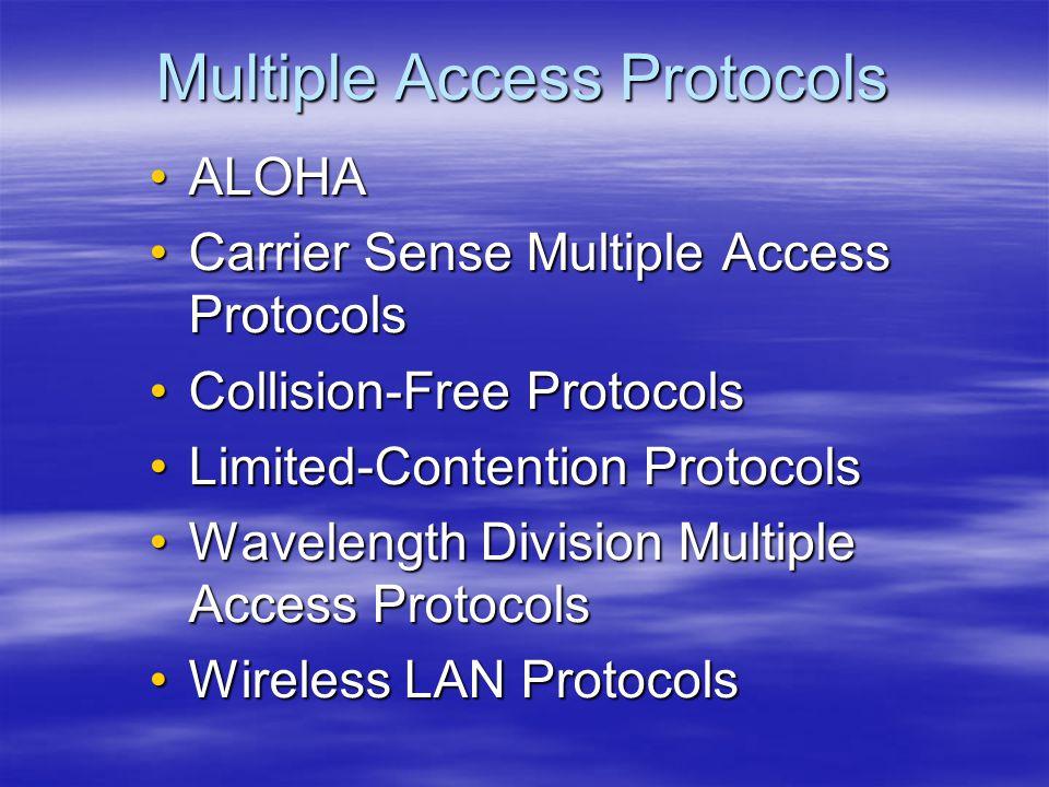 Multiple Access Protocols ALOHAALOHA Carrier Sense Multiple Access ProtocolsCarrier Sense Multiple Access Protocols Collision-Free ProtocolsCollision-