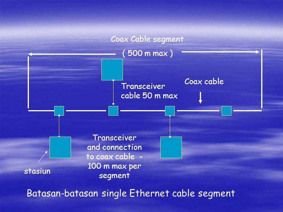 Coax Cable segment ( 500 m max ) Transceiver cable 50 m max Coax cable Transceiver and connection to coax cable - 100 m max per segment stasiun Batasa
