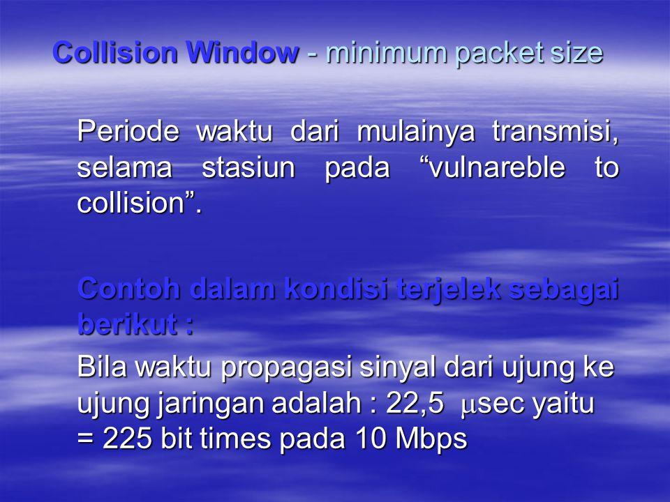 """Periode waktu dari mulainya transmisi, selama stasiun pada """"vulnareble to collision"""". Contoh dalam kondisi terjelek sebagai berikut : Bila waktu propa"""