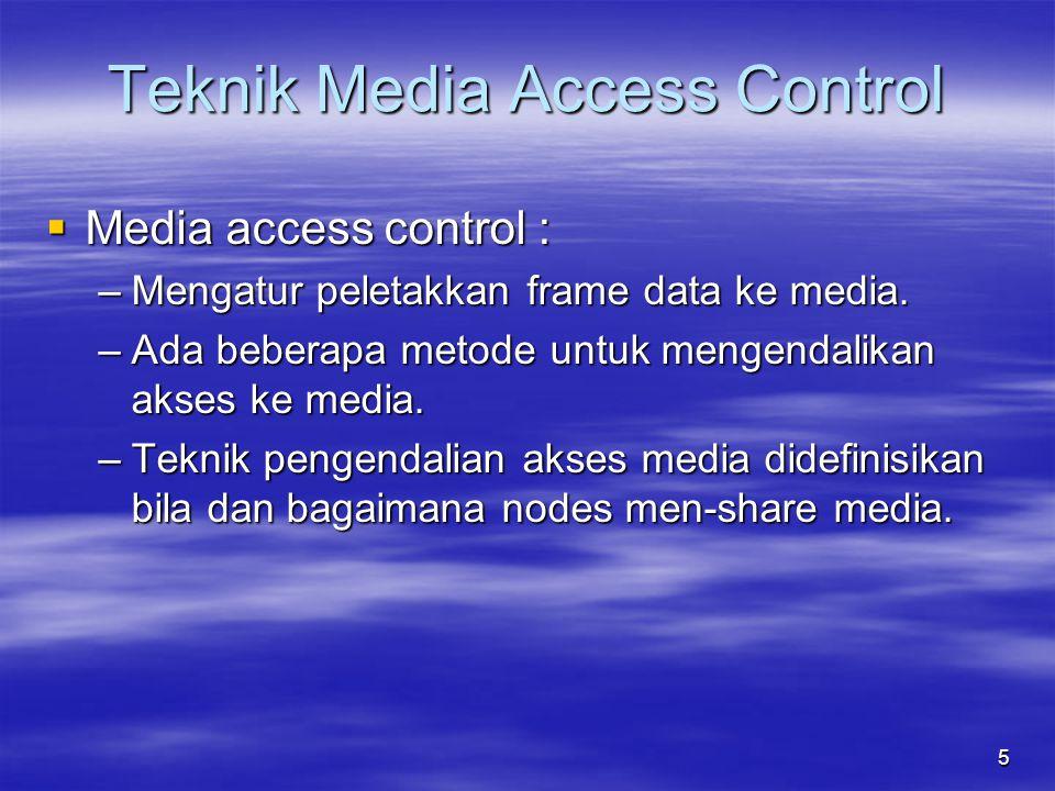  Media access control : –Mengatur peletakkan frame data ke media. –Ada beberapa metode untuk mengendalikan akses ke media. –Teknik pengendalian akses