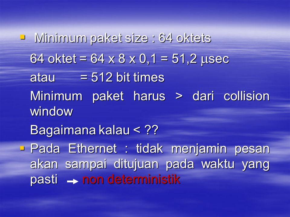  Minimum paket size : 64 oktets 64 oktet = 64 x 8 x 0,1 = 51,2  sec atau = 512 bit times Minimum paket harus > dari collision window Bagaimana kalau