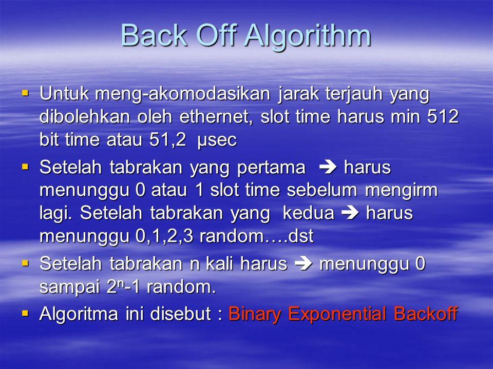 Back Off Algorithm  Untuk meng-akomodasikan jarak terjauh yang dibolehkan oleh ethernet, slot time harus min 512 bit time atau 51,2 µsec  Setelah ta