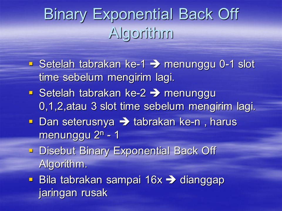 Binary Exponential Back Off Algorithm  Setelah tabrakan ke-1  menunggu 0-1 slot time sebelum mengirim lagi.  Setelah tabrakan ke-2  menunggu 0,1,2