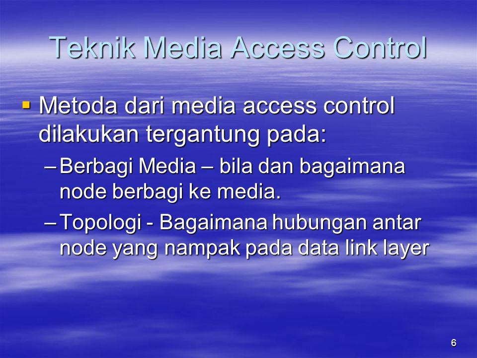 Metoda dari media access control dilakukan tergantung pada: –Berbagi Media – bila dan bagaimana node berbagi ke media. –Topologi - Bagaimana hubunga