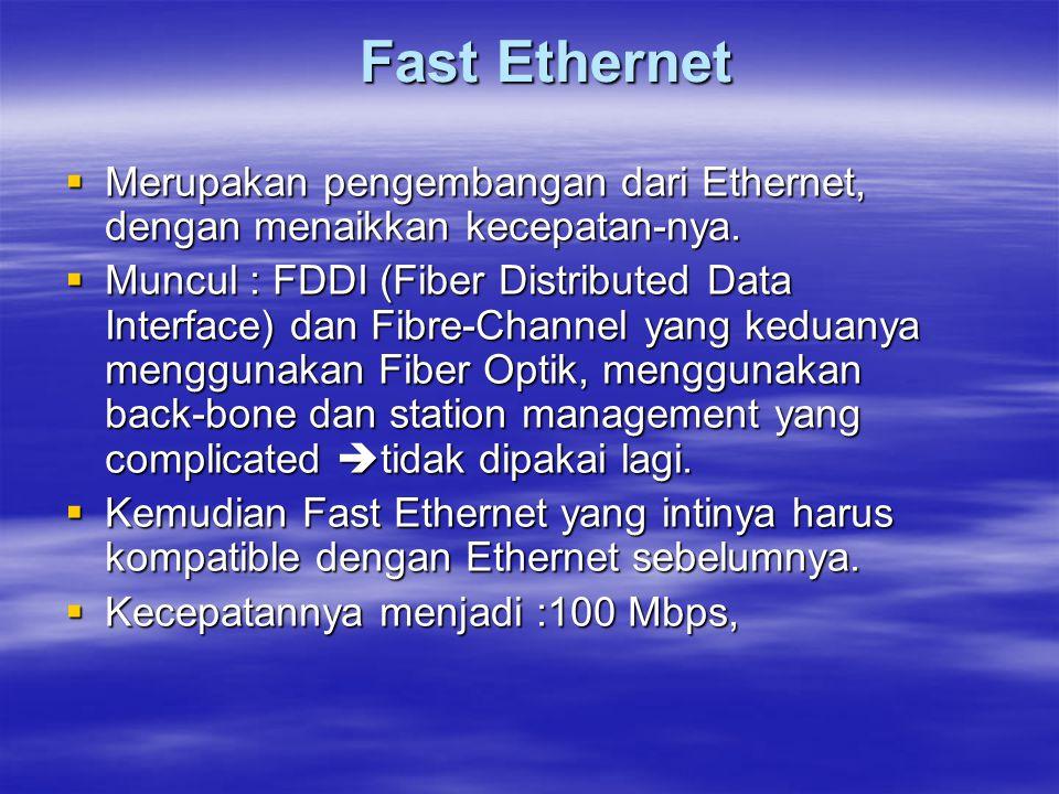  Merupakan pengembangan dari Ethernet, dengan menaikkan kecepatan-nya.  Muncul : FDDI (Fiber Distributed Data Interface) dan Fibre-Channel yang kedu