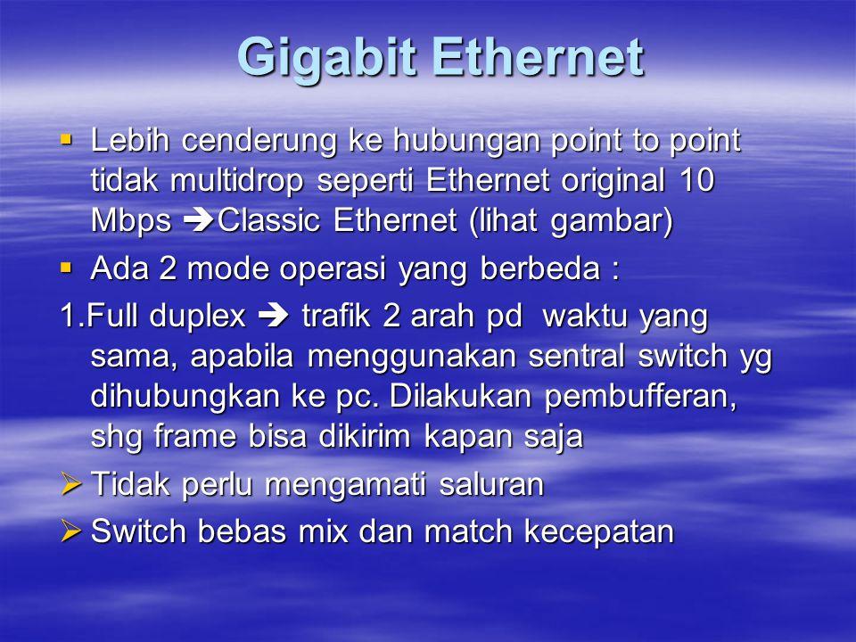 Gigabit Ethernet  Lebih cenderung ke hubungan point to point tidak multidrop seperti Ethernet original 10 Mbps  Classic Ethernet (lihat gambar)  Ad