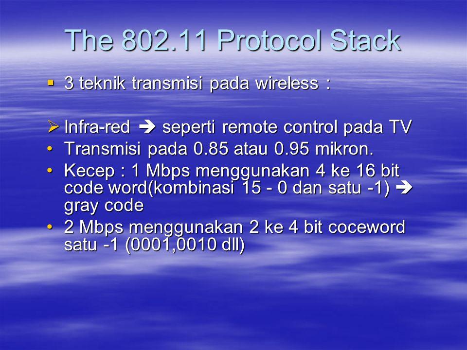  3 teknik transmisi pada wireless :  Infra-red  seperti remote control pada TV Transmisi pada 0.85 atau 0.95 mikron.Transmisi pada 0.85 atau 0.95 m
