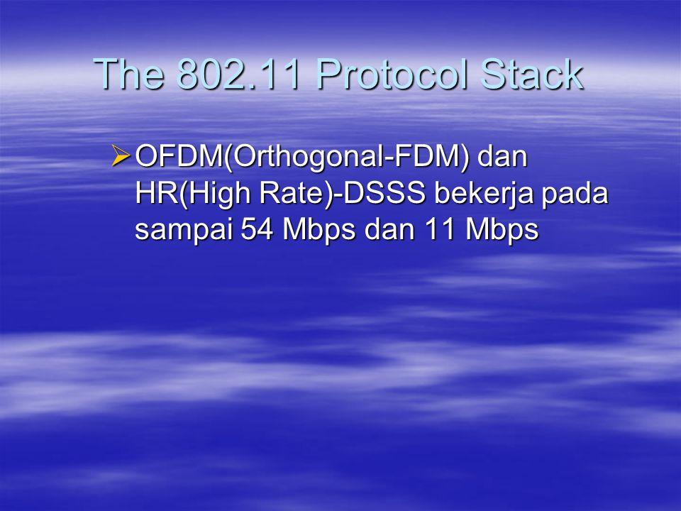  OFDM(Orthogonal-FDM) dan HR(High Rate)-DSSS bekerja pada sampai 54 Mbps dan 11 Mbps The 802.11 Protocol Stack