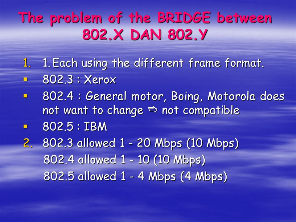 The problem of the BRIDGE between 802.X DAN 802.Y 1.1.Each using the different frame format.  802.3 : Xerox  802.4 : General motor, Boing, Motorola