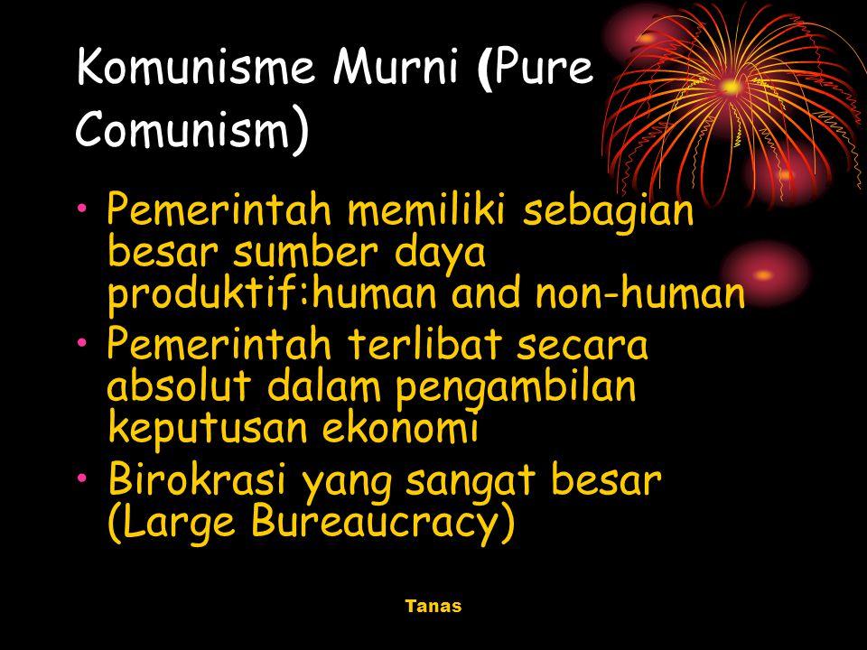 Tanas Komunisme Murni ( Pure Comunism ) Pemerintah memiliki sebagian besar sumber daya produktif:human and non-human Pemerintah terlibat secara absolu