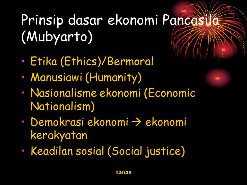 Tanas Prinsip dasar ekonomi Pancasila (Mubyarto) Etika (Ethics)/Bermoral Manusiawi (Humanity) Nasionalisme ekonomi (Economic Nationalism) Demokrasi ek