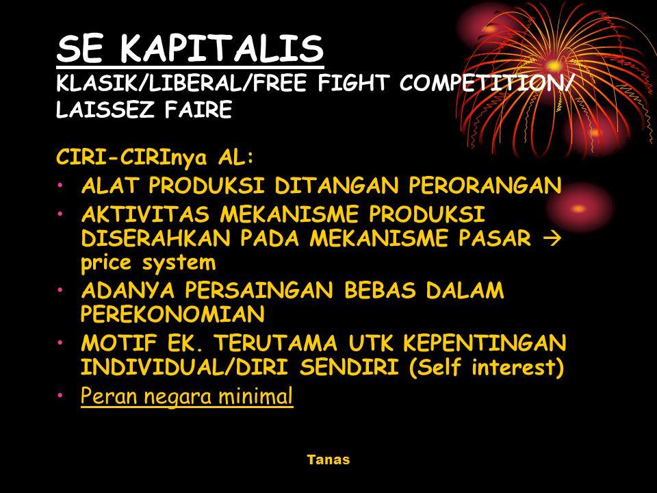 Tanas SE KAPITALIS KLASIK/LIBERAL/FREE FIGHT COMPETITION/ LAISSEZ FAIRE CIRI-CIRInya AL: ALAT PRODUKSI DITANGAN PERORANGAN AKTIVITAS MEKANISME PRODUKS