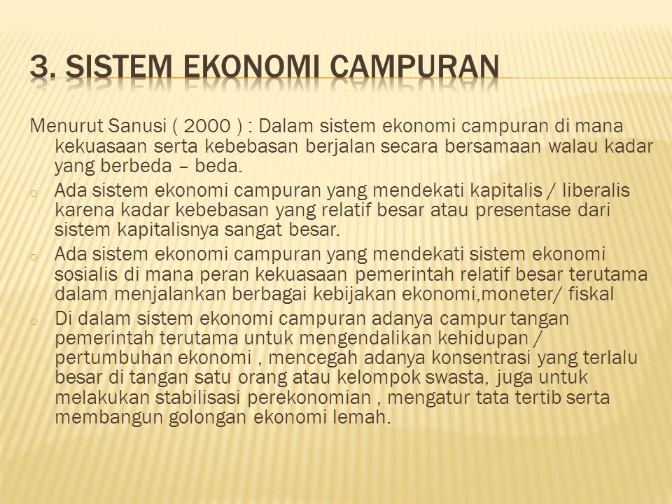 Menurut Sanusi ( 2000 ) : Dalam sistem ekonomi campuran di mana kekuasaan serta kebebasan berjalan secara bersamaan walau kadar yang berbeda – beda.
